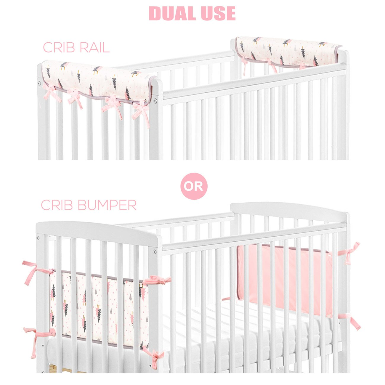 Stretchy Fitted Crib Sheets Set-Brolex 2 Pack Portable Crib Mattress Topper For Baby Girls Boys, Ultra Soft Jersey, Full Standard, Pink & White Arrow