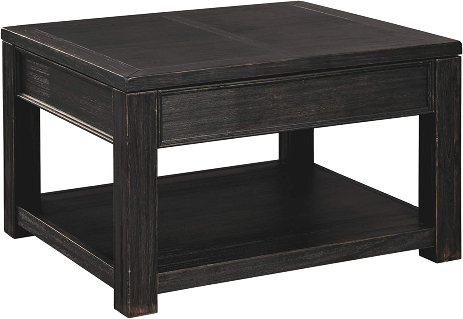 Signature Design by Ashley - Gavelston Lift-Top Cocktail Table w/ Fixed Shelf, Rubbed Black Finish