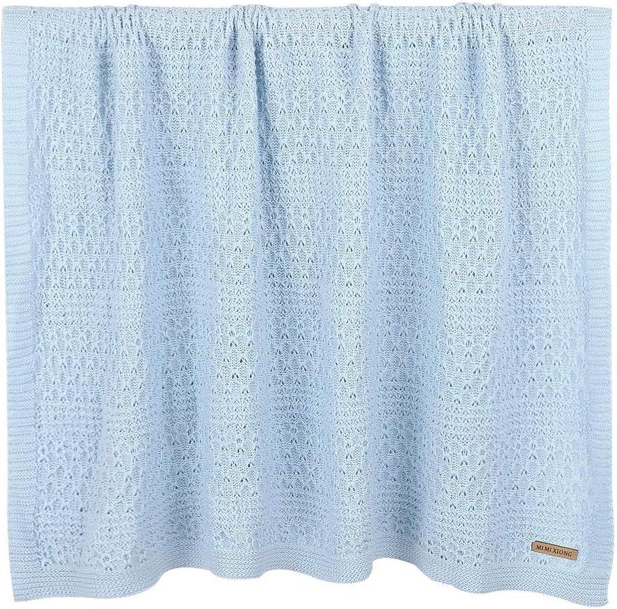 mimixiong Pram /& Travel Extra Soft Cotton Cellular Baby Blanket Blue