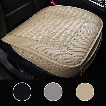Luollove Autositzbezüge Pu Leder Bambus Kohle Atmungsaktiv Kompatibel Für 90 Modelle Vordersitz 2stücke Beige 20 5 X 20 1 In Auto