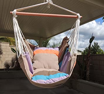 Ruipu Hammock Hanging Rope Chair Sky Air Hammock Swing Chair Porch Chair  With Stand Cushioned Seat