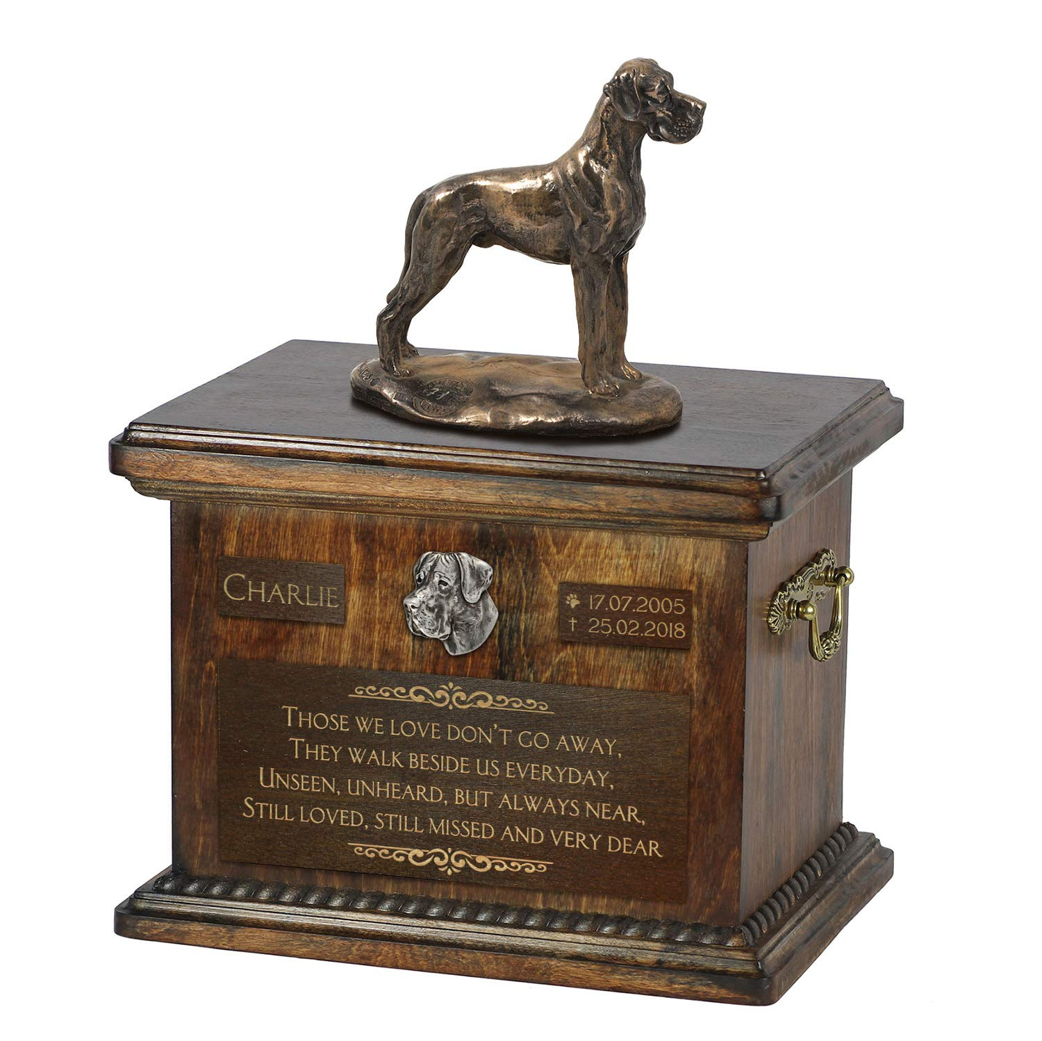 Great Dane uncropped, Urn for Dog Ashes Memorial with Statue, Pet's Name and Quote ArtDog Personalized