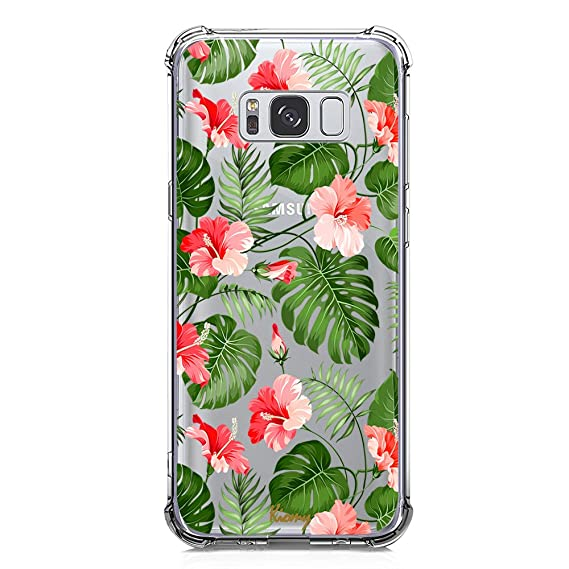 Galaxy S8 Case for Girl Clear with Tropical Flower Design Shockproof Bumper Protective Cases for Samsung Galaxy S8 Flexible Silicone Slim Fit Palm ...