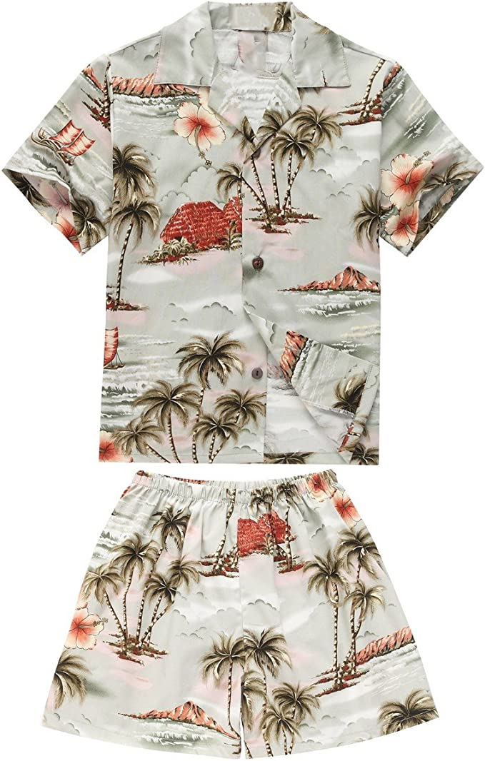 Made in Hawaii Luau Aloha Shirt and Shorts Boy Cabana Set Palm White