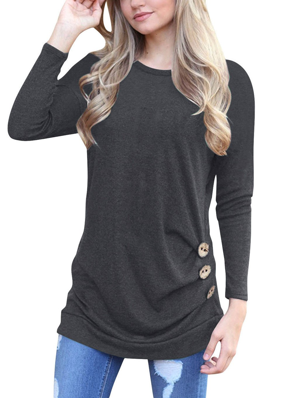 Women Tunic Tops Long Sleeve Button Loose Round Neck Solid Color Casual Blouse Shirt (S, Black)