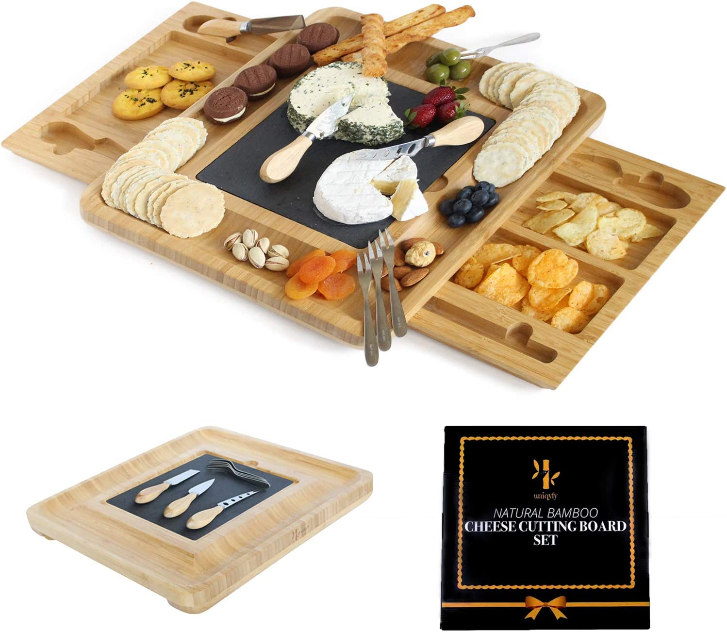 Bamboo cheese cutting board and knife set, cheese board (Top Quality wood) Unique Charcuterie board and Serving Tray for Cheese, Crackers, Wine and appetizer Best gift for Mom, Hostess birthday friend
