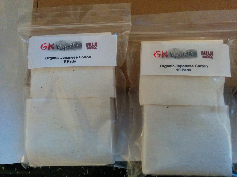 GK Vapers Muji Cotton - 100% Pure Organic Japanese Cotton Pads - Vaping RDA (Pack of 20)