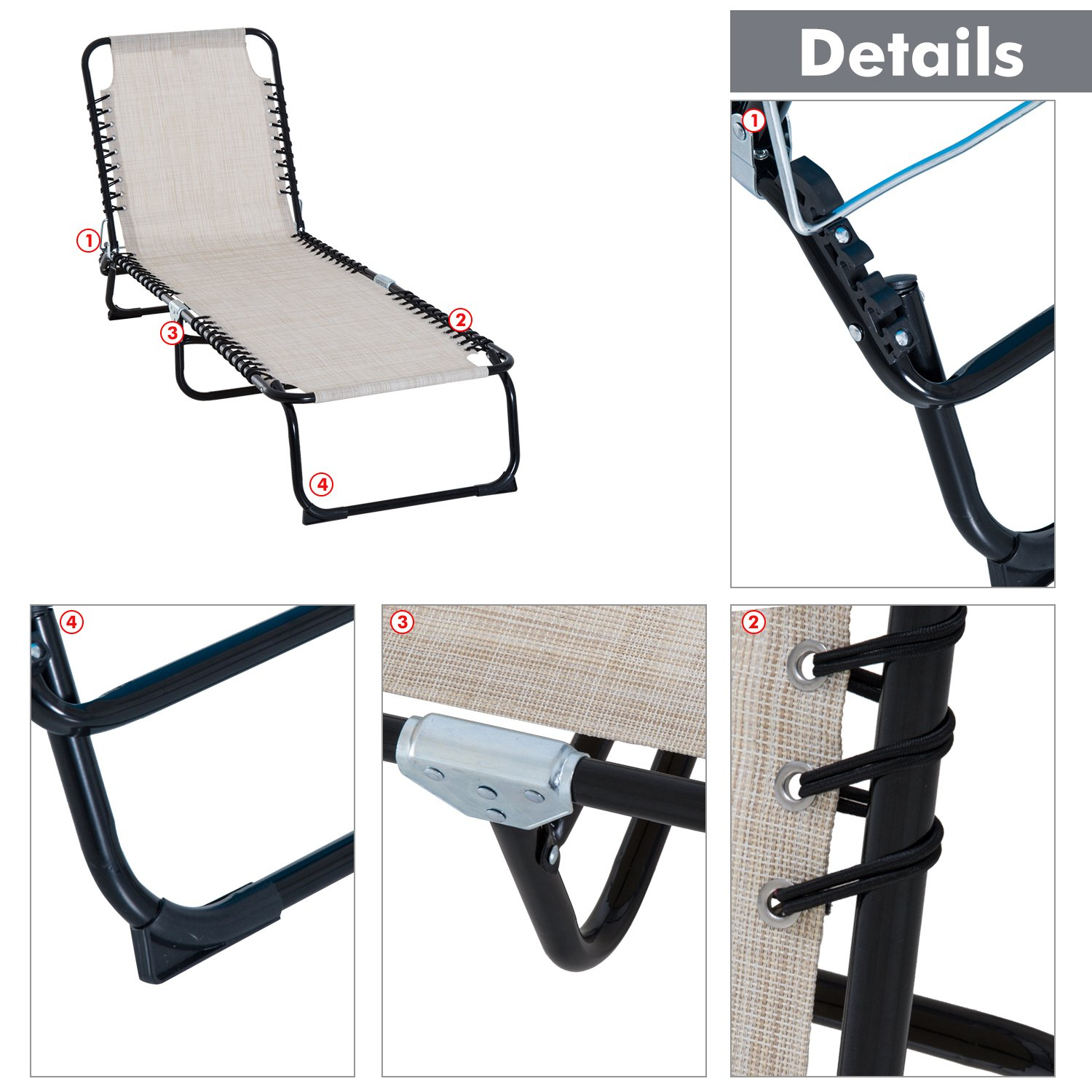 Outsunny 3-Position Reclining Beach Chair Chaise Lounge Folding Chair - Cream White by Outsunny (Image #5)
