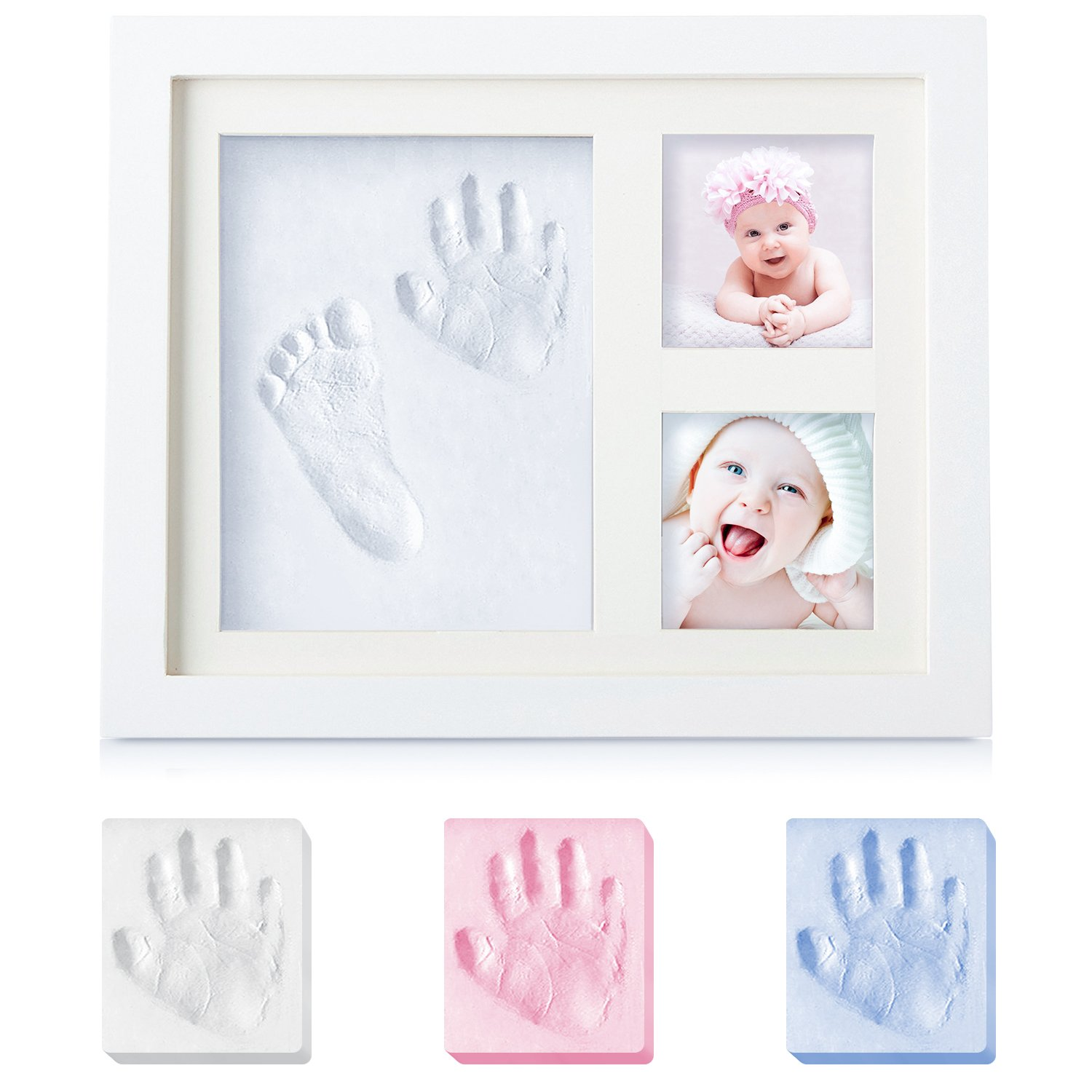 Baby Gifts Newborn Handprint and Footprint Photo Frame Kit Keepsake, Baby Shower Gifts for Registry, Best Baby Gifts for Girls and Boys, Environmentally Friendly Wood&Natural Non-Toxic Clay SANMIO SA11WH