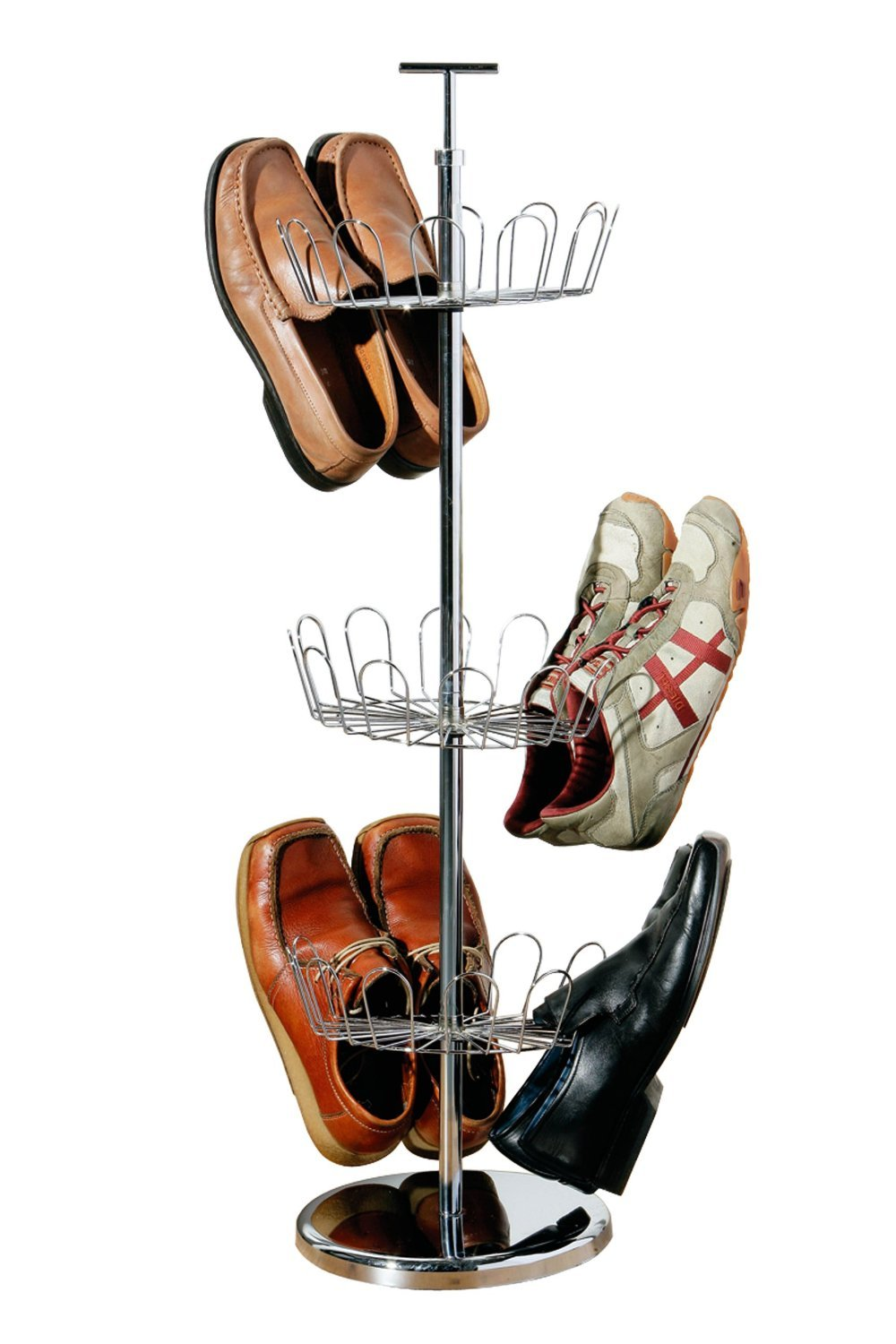 3 Tier Revolving Shoe Rack Made Of Chrome Material With Round Base:  Amazon.co.uk: Kitchen U0026 Home