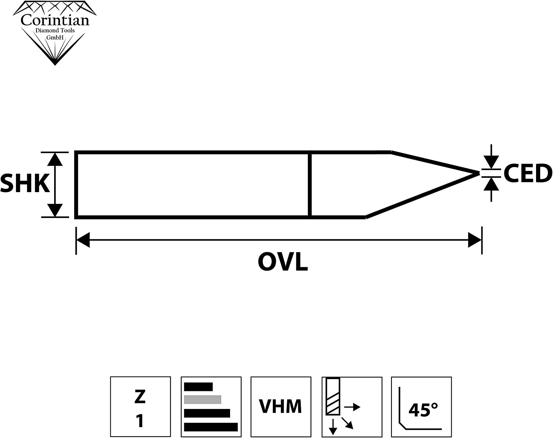 corintian VHM Gravier Buril grabado Buril 3,175/ CNC grabado /6/mm de di/ámetro pl/ástico 10/ PCB Placa de circuitos PCB fresar /90/grados madera grabar de metal