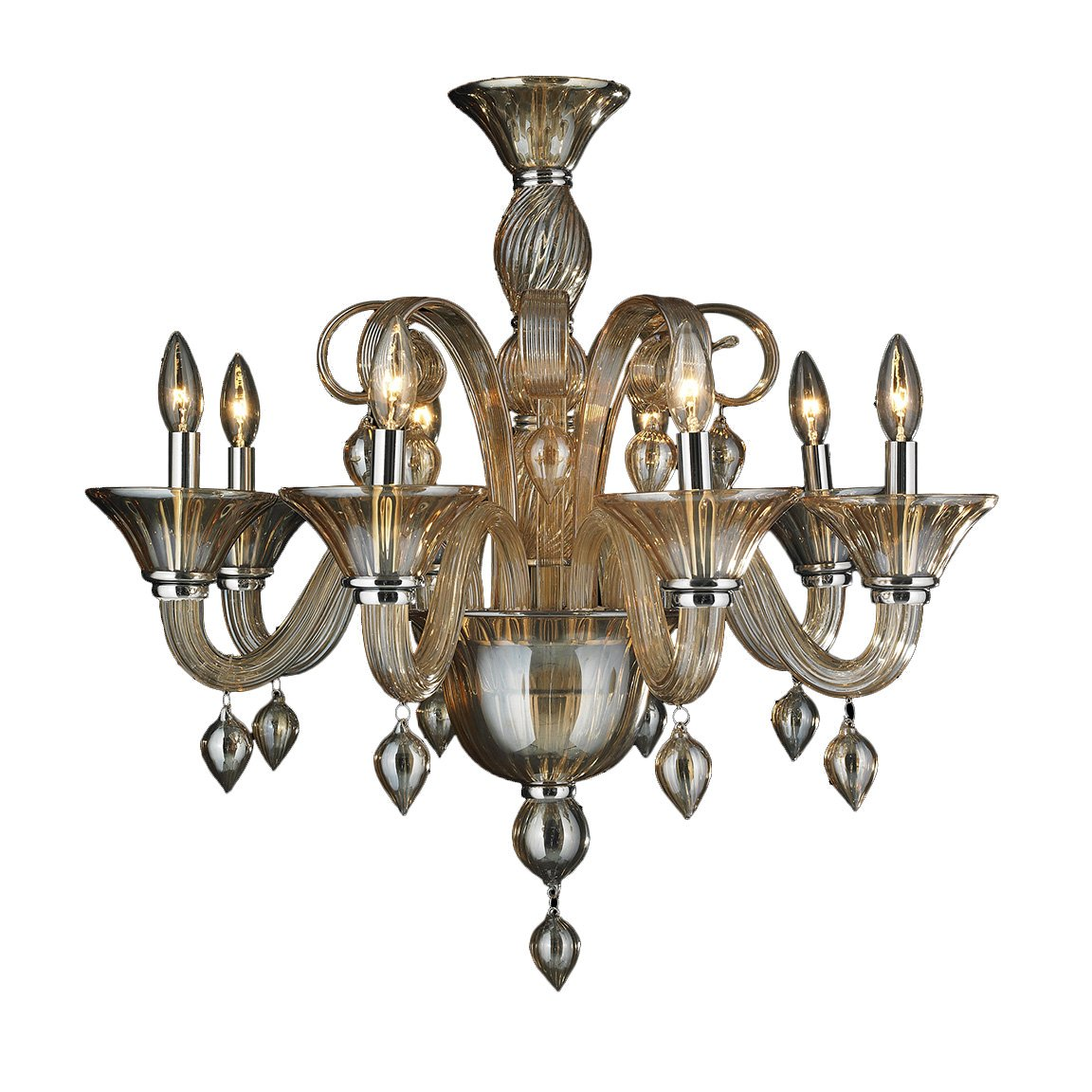 Worldwide Lighting Murano Collection 8 Light Blown Glass in Amber Finish Venetian Style Chandelier 27'' D x 27'' H Large