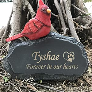 Claratut Personalized Pet Memorial Stones Grave Markers withMini Red Cardinal Bird Ornament On Stone, Pet Dog Garden Stone for Outdoor Backyard Patio Or Lawn, Customized Pet Loss Gift