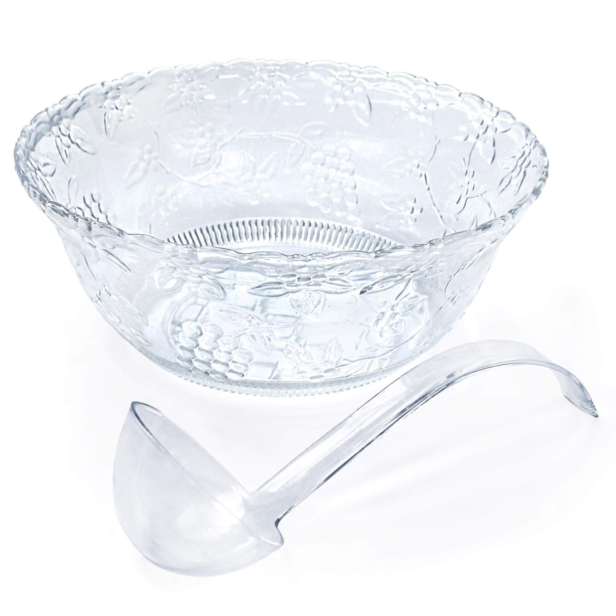 Clear Plastic Punch Bowl With Ladle - Large 2 Gallon Bowl With 5 oz Ladle by ANZL
