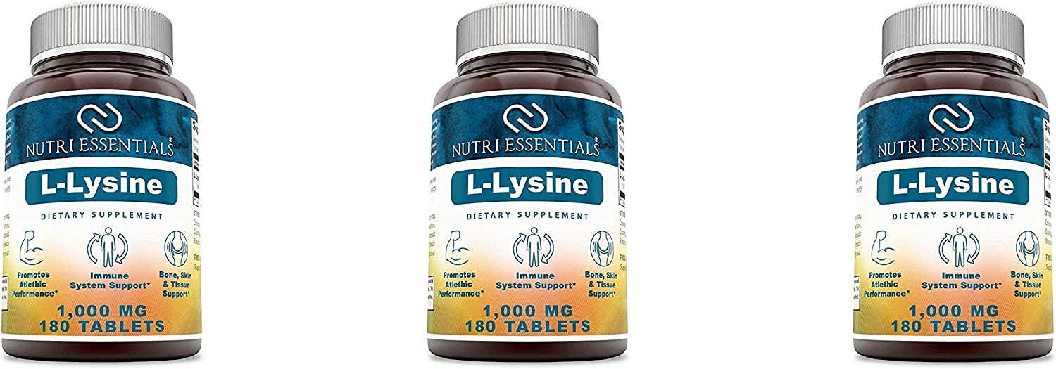 Nutri Essentials L-Lysine Dietary Supplement 1000 Mg 180 Tablets – Supports Healthy Connective Tissues – Promotes Calcium Absorption – Supports The Immune System Respiratory Health Pack of 3