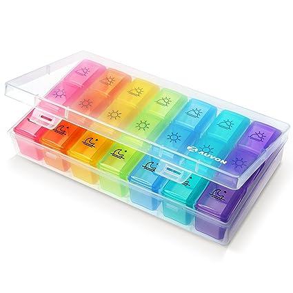 Auvon iMedaid - Organizador semanal para pastillas, diseño de la FDA (disponible en D325782