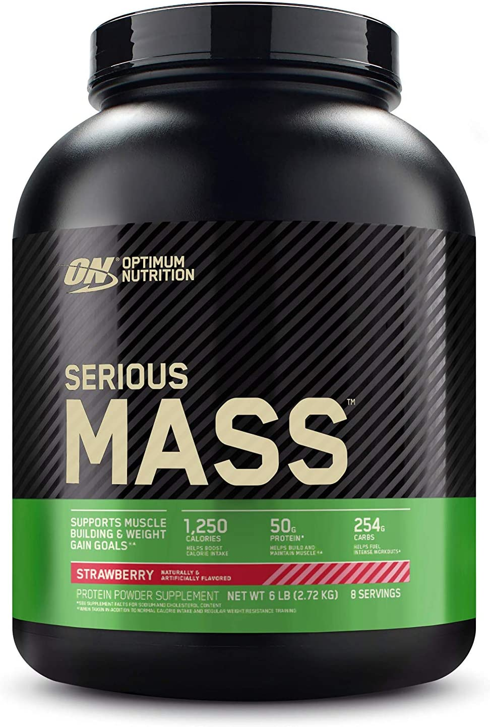 Optimum Nutrition Serious Mass Weight Gainer Protein Powder, Vitamin C, Zinc and Vitamin D for Immune Support, Strawberry, 6 Pound (Packaging May Vary)