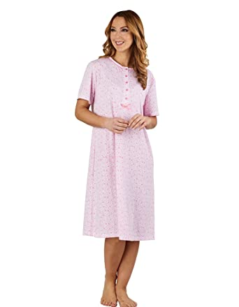 472612b7888 Slenderella ND1102 Women s Ditsy Floral Pink 100% Cotton Jersey Night Gown  Loungewear Short Sleeved Nightdress