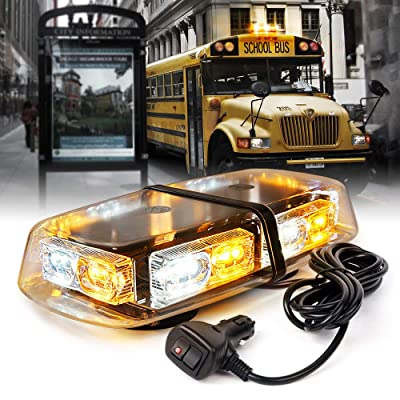 Xprite White Amber 36 LED Roof Top Mini Strobe Lights Bar 16 Flashing Modes Warning Beacon Light w/Magnetic Base for Emergency Hazard Vehicles, Trucks, Snow Plow, Construction Cars Bus: Automotive