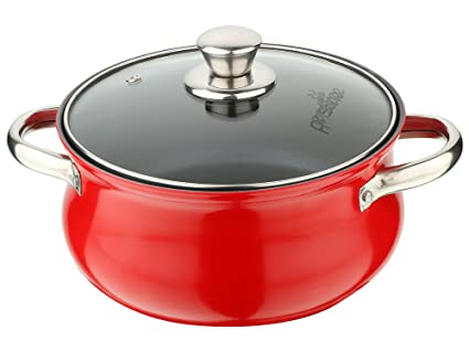 Pristine Aluminium Induction Base Non Stick Belly Casserole with Glass Lid / 2.5ltrs