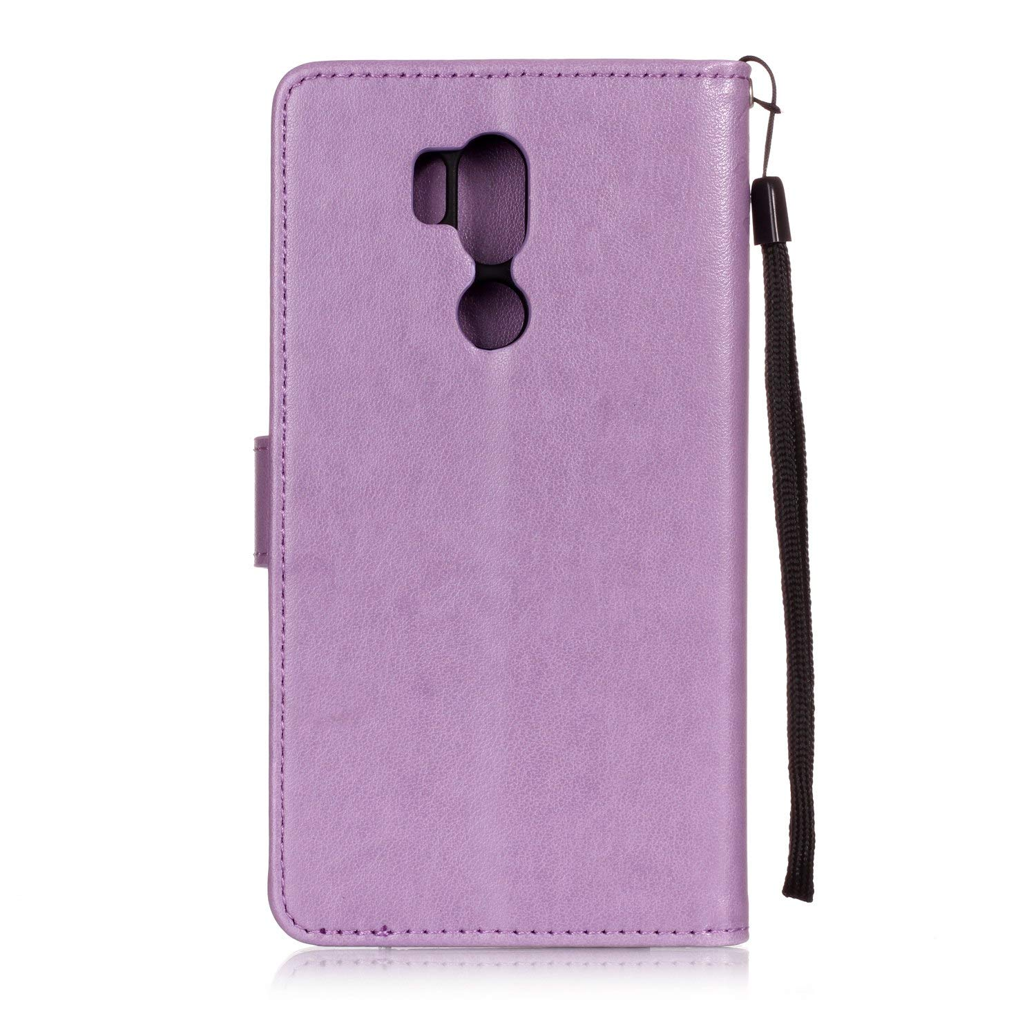 Shinyzone Protective Phone Case for LG G7,LG G7 ThinQ Case Embossed Butterfly Dandelion Pattern Series,Magnetic Stand Cover with Card Slots Leather Wallet Flip Case-Purple by Shinyzone (Image #3)