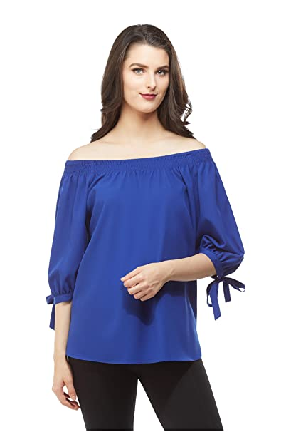7bbe732967a28 Petite Off-The-Shoulder Tie Sleeve Top Nygard Blue PM at Amazon Women s  Clothing store