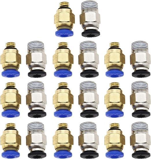 OTOTEC 10pcs PC4-M6 Conector neumático 10x PC4-M10 Conector para ...