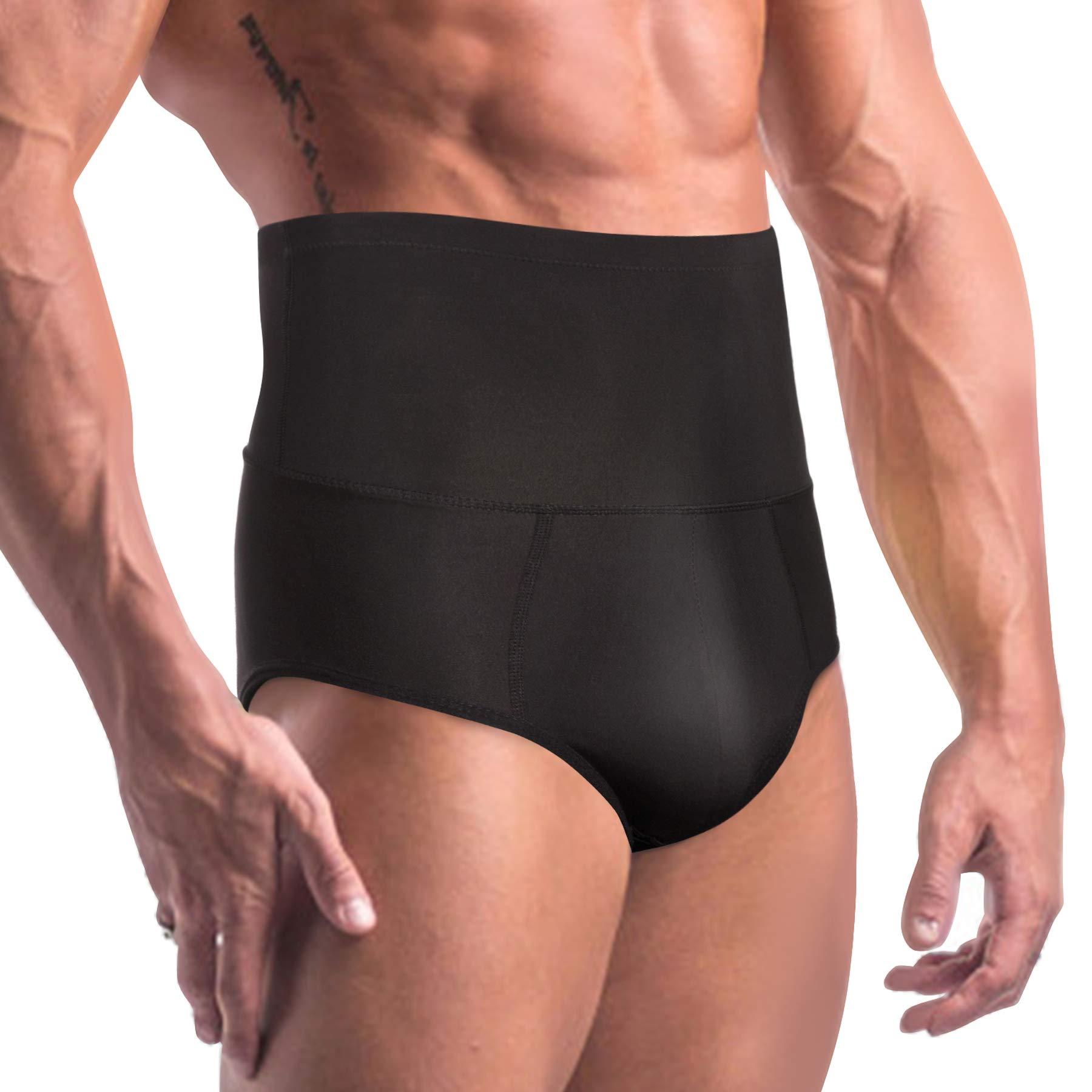 TAILONG Men Tummy Shaper Briefs High Waist Body Slimmer Underwear Firm Control Belly Girdle Abdomen Compression Panties (Black, L)