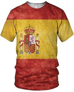 Estampado Entero España Bandera Hombre Moda Camiseta