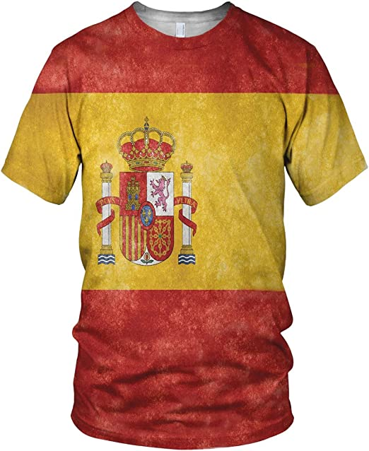 Estampado Entero España Bandera Hombre Moda Camiseta: Amazon.es ...