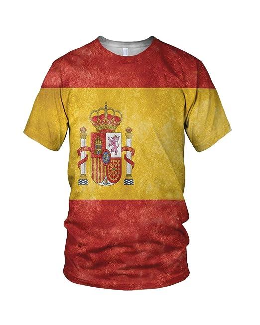Estampado Entero España Bandera Hombre Moda Camiseta: Amazon.es: Ropa y accesorios