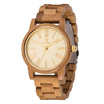 Bamboo Wooden Watch Men,BIOSTON Natural Handmade Lightweight Unisex Luxury Golden Face Wood Wristwatches