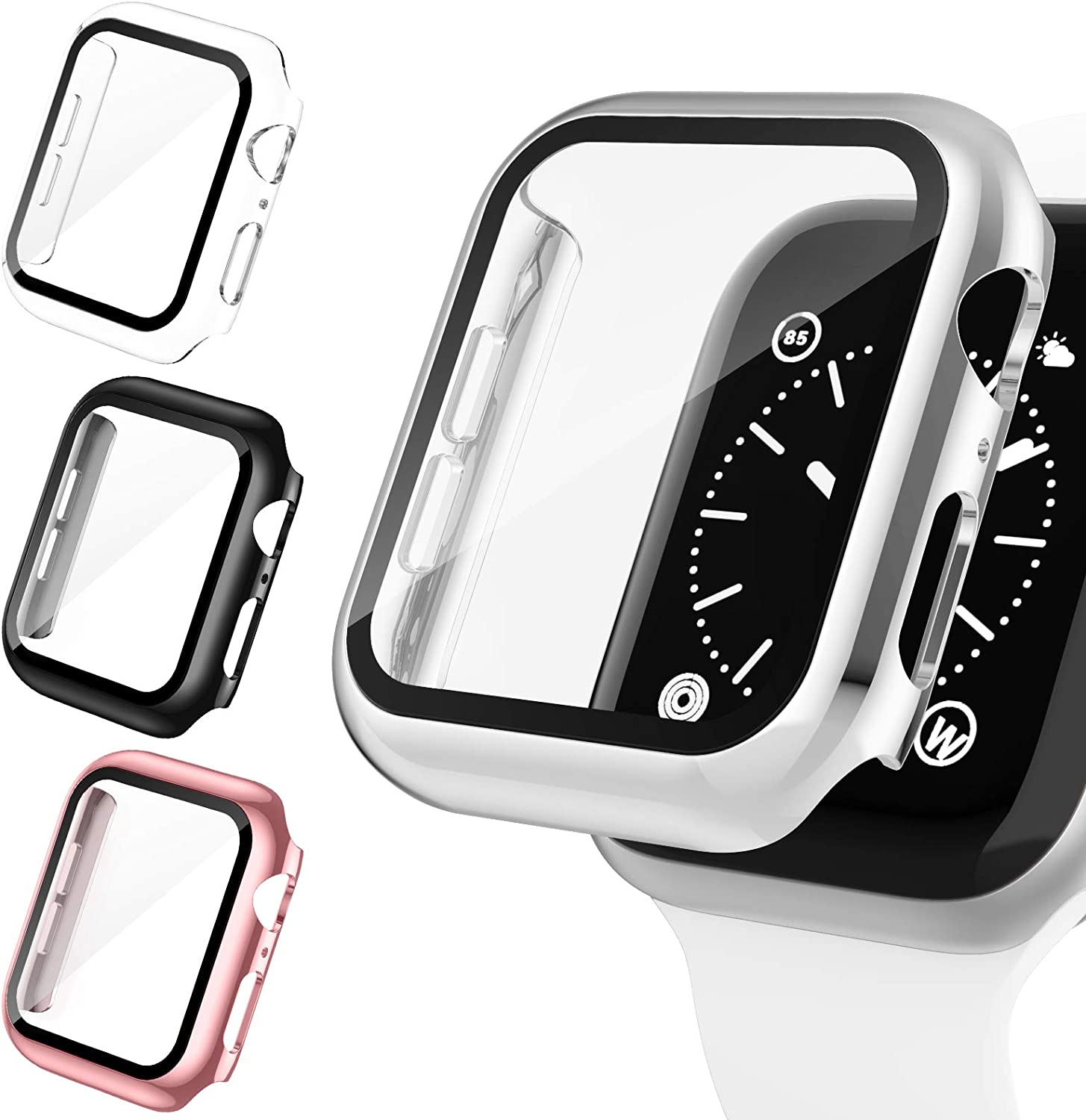 Goosehill 4 Pack Case for Apple Watch 38mm Built-in Tempered Glass Screen Protector, Slim Guard Bumper Full Coverage HD Ultra-Thin Cover Compatible with iWatch 38mm Series 3/2/1