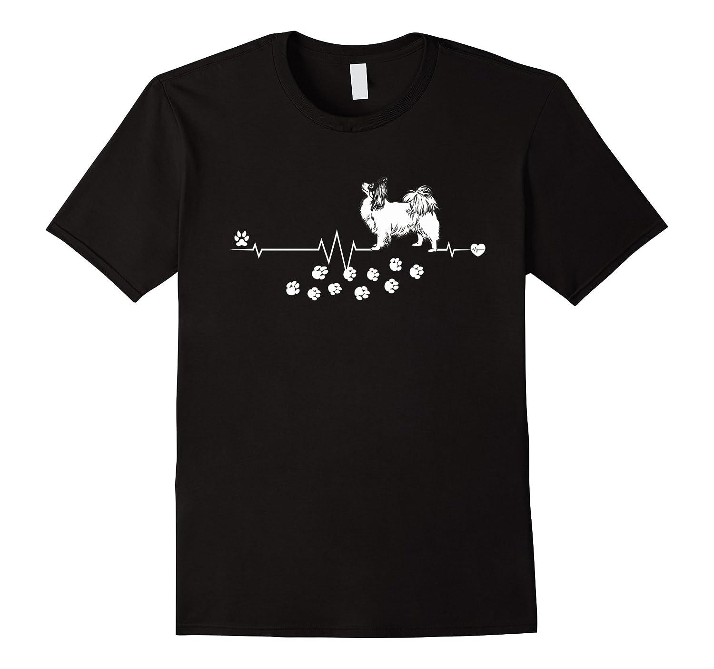 Papillon Dog Heartbeat Gift Dogs Breed Women Men T-shirt-TD