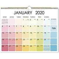"""2020 Calendar - Monthly Wall Calendar 2020, 11.5"""" x 15"""", Jan - Dec, Two-Wire Binding, Blank Blocks with Julian Dates, Thick Paper, Hanging Loop, Perfect for Organizing in Home, School & Office"""
