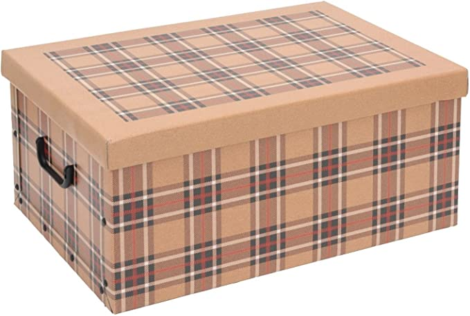 Cajas de almacenamiento de cartón de tartán, con tapa, para casa, oficina, escuela, habitación, como Caja de juguete y de almacenamiento, Caja de herramientas: Amazon.es: Hogar