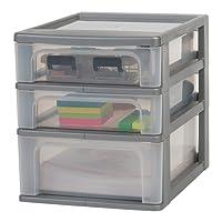 Iris Ohyama/Tour de Rangement 3 tiroirs - Organizer Chest - OCH-2030/plastique/blanc givré/Transparent