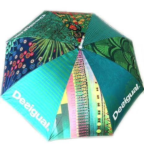 Paraguas de caña Desigualverde multicolor.