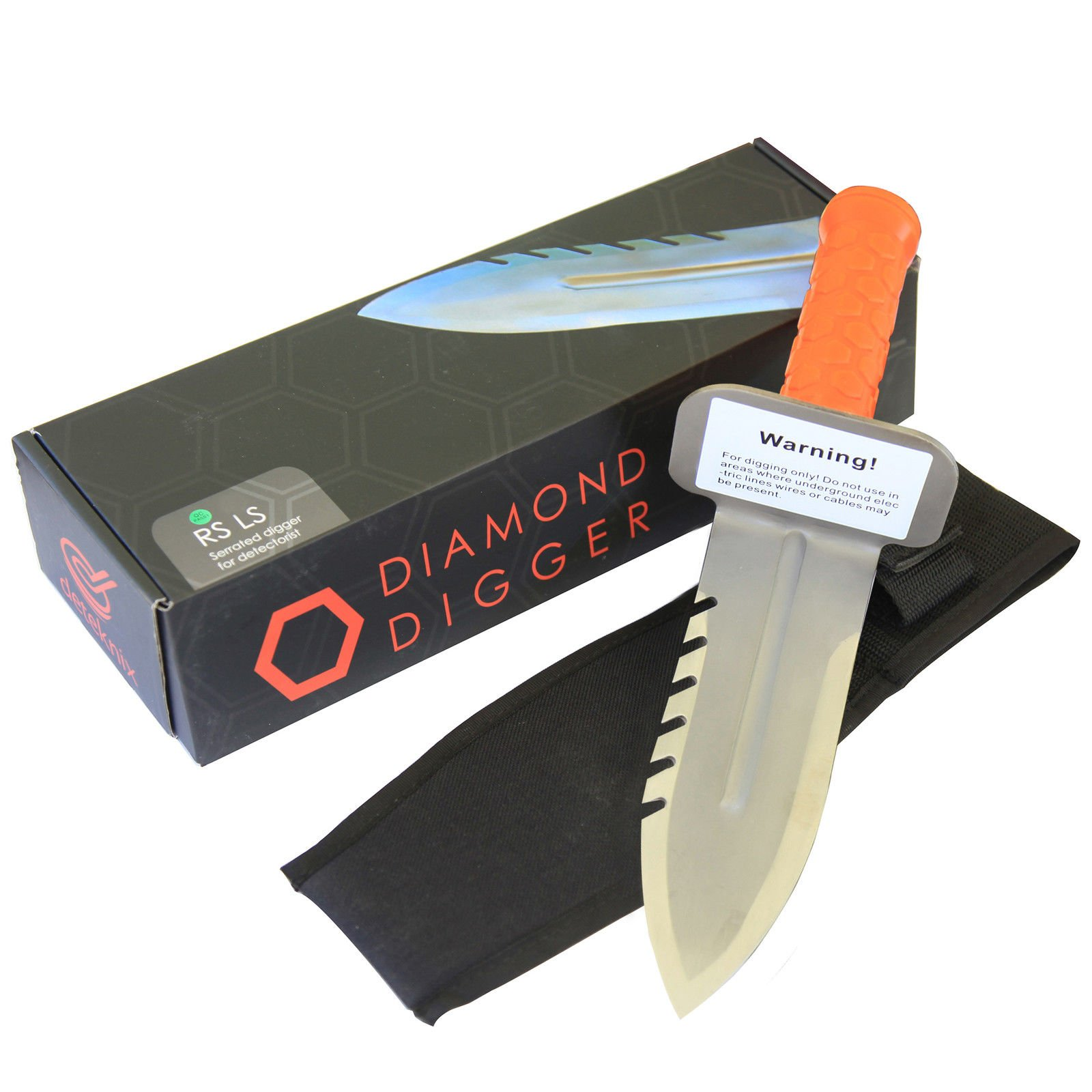 Deteknix 1V_1503.102 Quest Diamond Digger Right Side Serrated Digging Tool w/Sheath, Orange