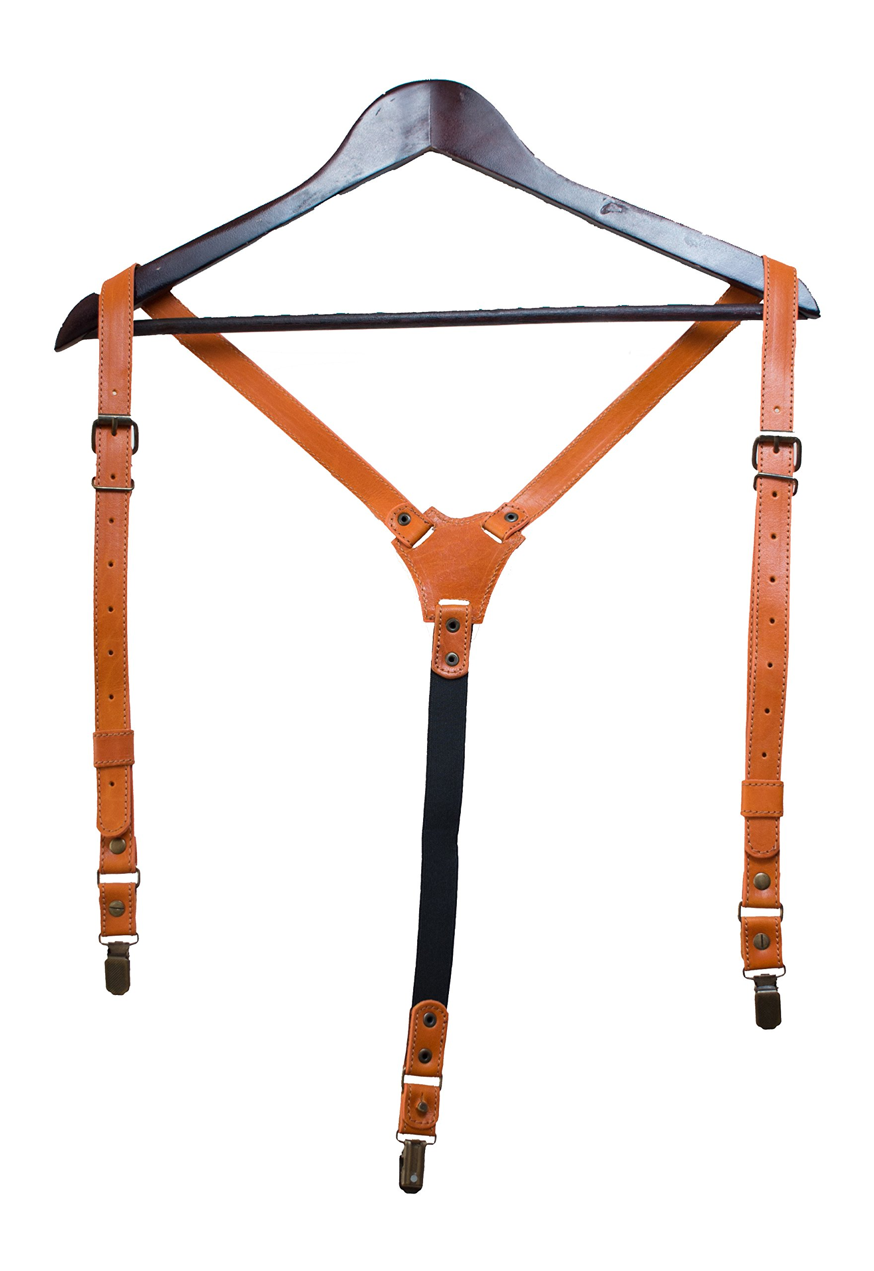 Leather suspenders prime, for men, 3 in 1 clips, snap hooks and buttons / gift box / real leather (Tan)
