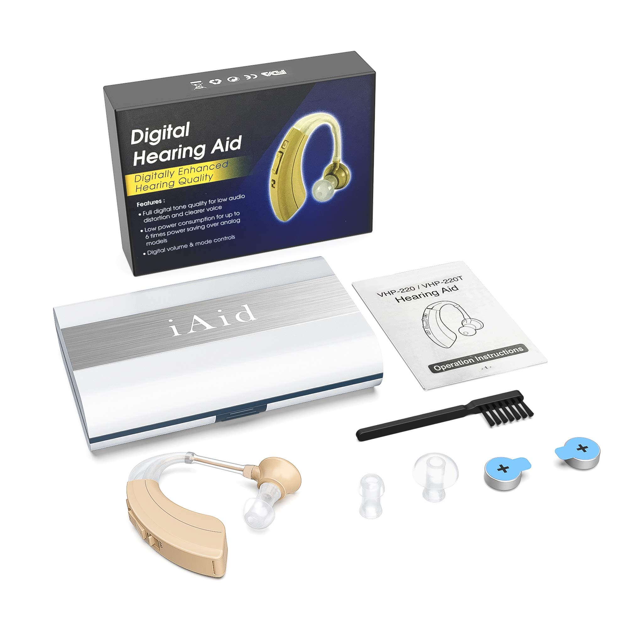 Digital Hearing Amplifier Aid 2 Pack - FDA Approved Personal Sound Device with Batteries, 4 Channels Noise Reduction, Hearing Aid Cleaning Kit for Adults and Seniors by iAid