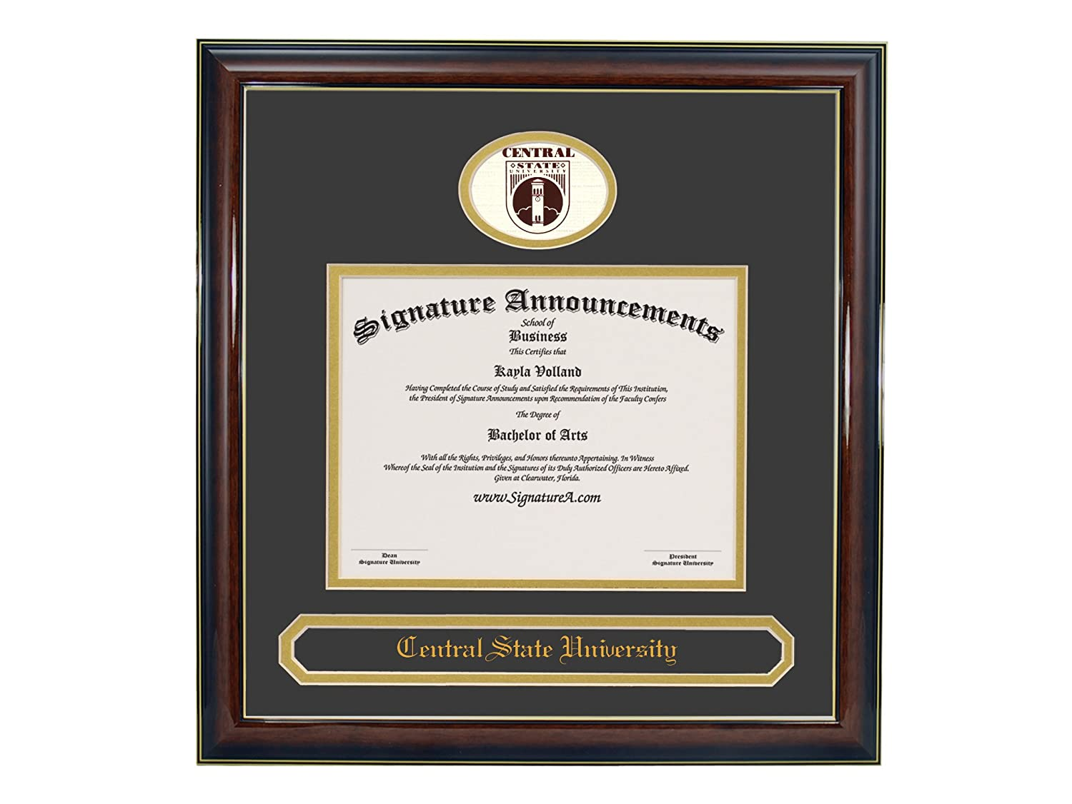 Signature Announcements Central-State-University Undergraduate Sculpted Foil Seal /& Name Graduation Diploma Frame 16 x 16 Gold Accent Gloss Mahogany