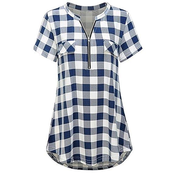 Lenfesh Camisa para Mujer, Camisetas Cuadros Mujer Verano Blusa Mujer Cuello en V con Manga