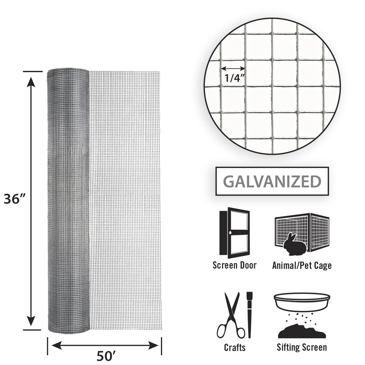Garden Zone 36 Inches x 100 Feet 23-Gauge Galvanized Hardware Cloth with 1//4-Inch Openings Origin Point