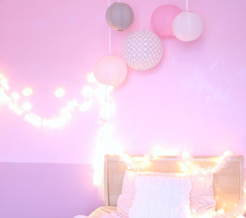 Amazon.com: Bobee Pink and Grey Paper Lanterns Baby Shower Girls ...