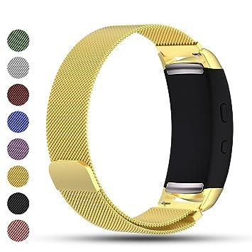 ... malla milanesa de acero inoxidable para reloj inteligente Samsung Gear Fit2/Gear Fit 2 Pro, color dorado: Amazon.es: Deportes y aire libre