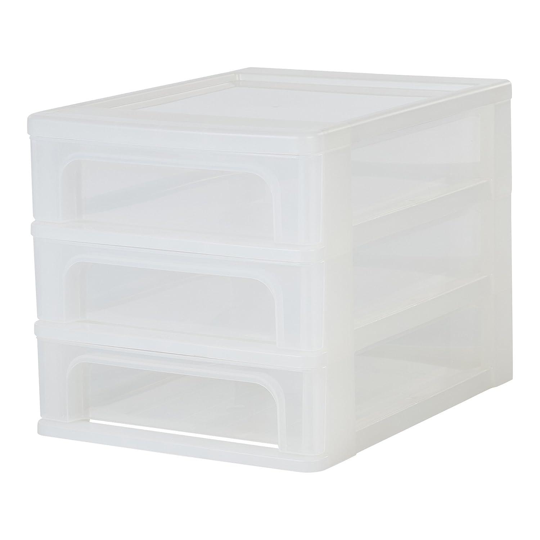 plastica Iris Ohyama 26 x 35.5 x 29.5 cm bianco satinato // trasparente 15 L Organizer Chest torre di stoccaggio 3 cassetti OCH-2021
