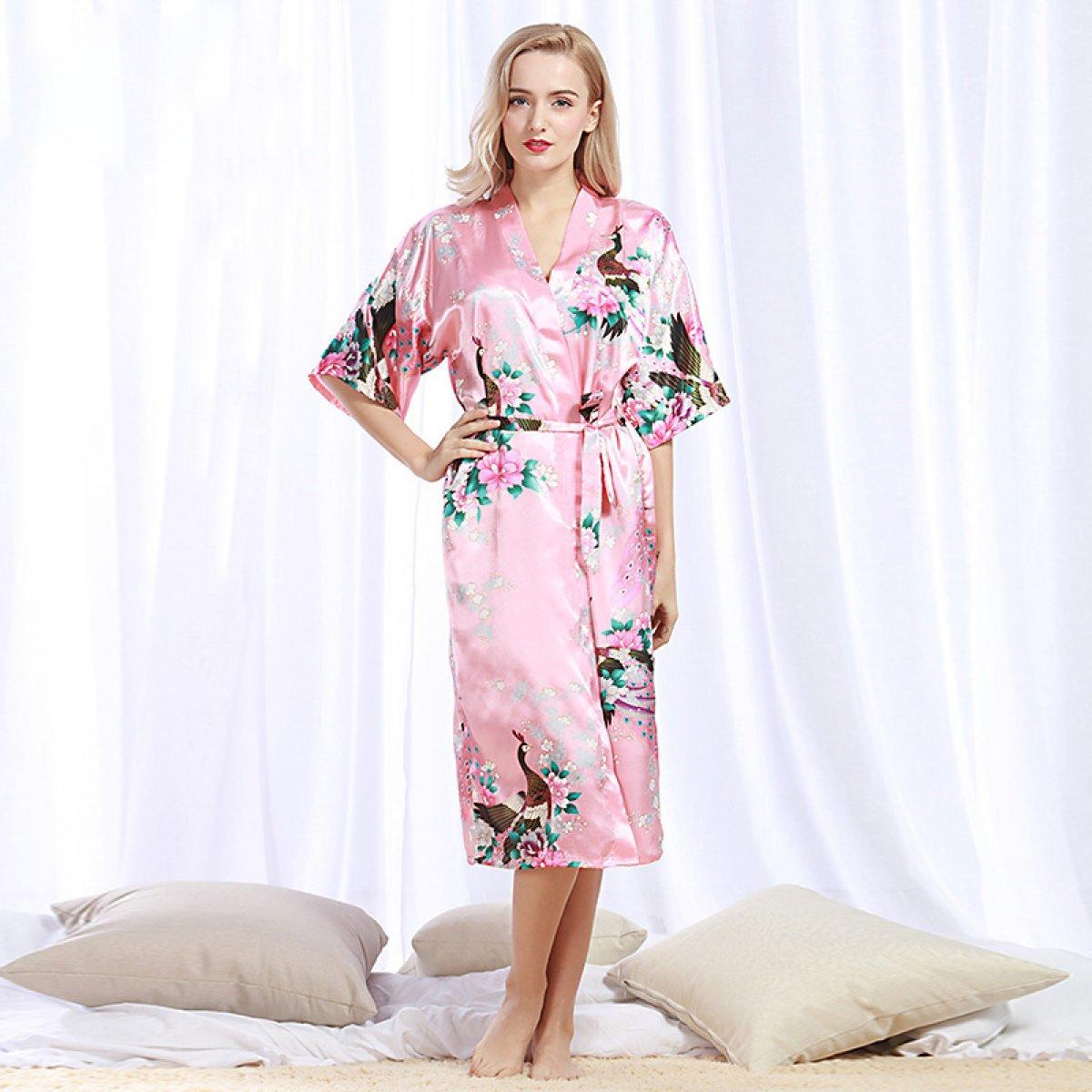 XING GUANG Chaqueta De Albornoz Explosiva del Pavo Real del Verano De Las Mujeres De La Rebeca del Camisón Pijamas De Seda del Camisón Atractivo,Black(XXL): ...