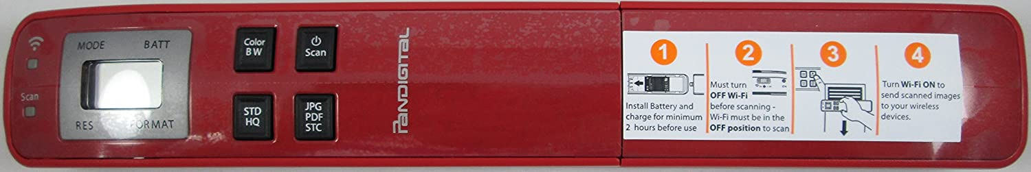 Pandigtal Red Handheld WIFI Wand Scanner