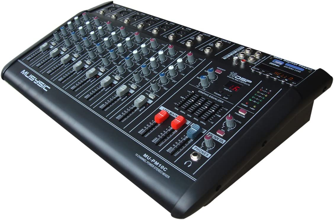 10 Channel Professional 4000 Watts Powered Mixer With USB/SD Slot 16 DSP (Digital Multi-Effects) 71ovdGehjqLSL1250_